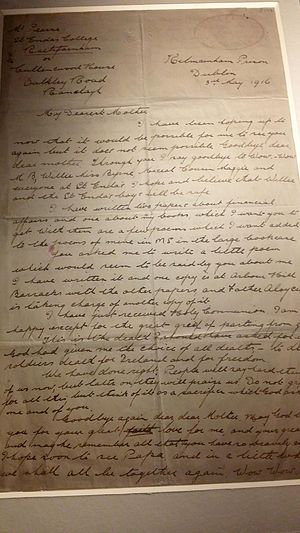 Margaret Pearse - Last letter from Patrick Pearse to his mother. Written 3 May 1916 from Kilmainham jail.