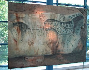 Pech Merle - Replica of horses and hands cave painting displayed in the Brno museum