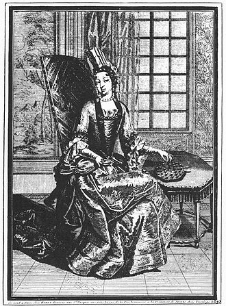 Peg solitaire - The Princess of Soubise playing solitaire, 1687
