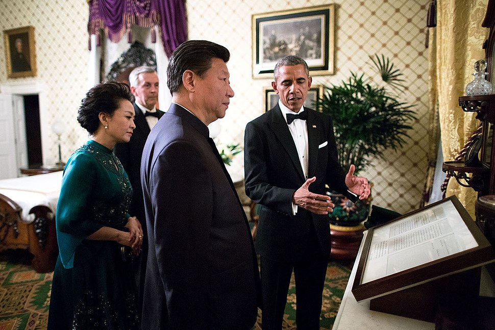Peng Liyuan, Xi Jinping and Barack Obama in the Lincoln Bedroom