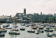 Penzance harbour and church