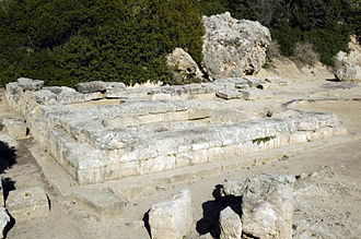 Heraion of Perachora - The western end of the 6th BCE Temple of Hera Akraia showing the three aisles.