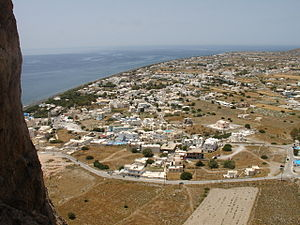 Perissa as seen from the hill of Ancient Thira...