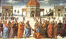 Painting of a group of men in a piazza, a long haired man giving a key to a kneeling man.