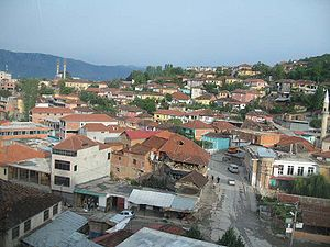 The center of Peshkopi as seen from the road into the neighborhood of Dobrovë.