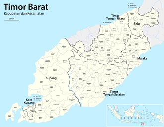 West Timor - Administration borders in West Timor