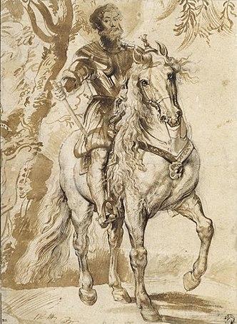 Эскиз к портрету герцога Лерма. Чёрный мелок, карандаш. 1603, 29×21,5см. Париж, Лувр