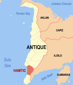 Mapa ti Antique a mangipakita ti lokasion ti Hamtic, Antique.