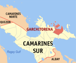 Map of Camarines Sur showing the location of Garchitorena