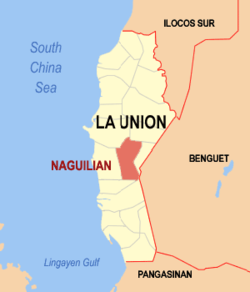 Map of La Union showing the location of Naguilian