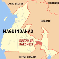 Map of Maguindanao showing the location of Sultan sa Barongis