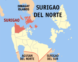 Map of Surigao del Norte showing the location of Surigao City.
