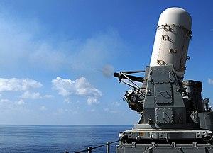 Phalanx CIWS - Image: Phalanx CIWS test fire 081107 N 5416W 003