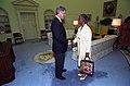 Photograph of President William J. Clinton Greeting Shirley Chisholm, Ambassador-Designate to Jamaica - NARA - 2842929.jpg