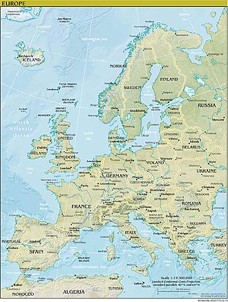 Outline of Europe - Image: Physical and Political Europe