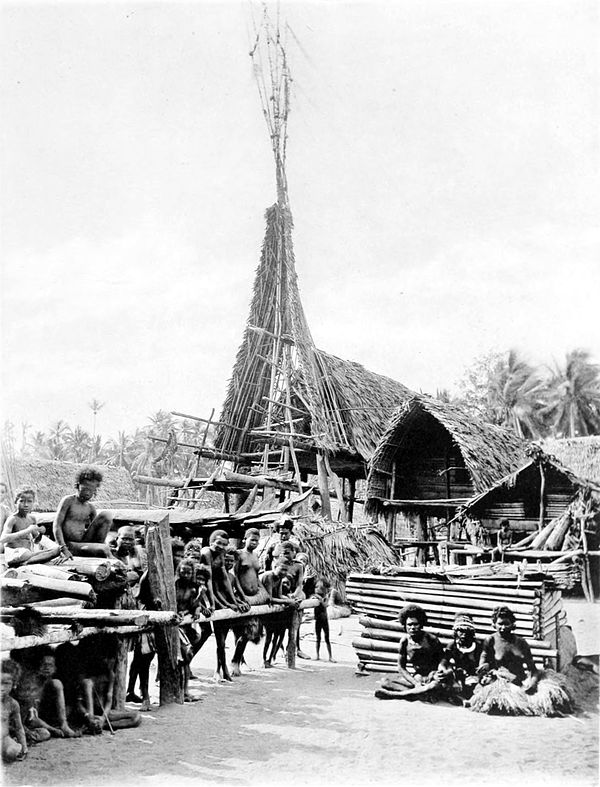 Black and white photograph of a tall semi-complete building, made of logs, branches and thatch.  The surrounding area is a village of similar, albeit smaller, buildings.  A group of people sit and stand in the foreground.