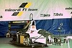 Pierluigi Martini`s Minardi M193 in the pit garage at the 1993 British Grand Prix (33686656585).jpg