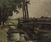 Piet Mondriaan - Polderlandschap met brug en geit, schets - A38 - Piet Mondrian, catalogue raisonné.jpg