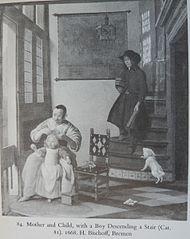 Mère et l'Enfant avec un garçon descendant un escalier