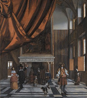 Going for a Walk in the Amsterdam Town Hall - Image: Pieter de Hooch The Council Chamber in Amsterdam Town Hall WGA11710