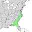Pinus serotina range map.png