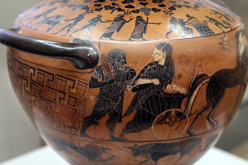 Pittore del louvre E739, hydria ricci, etruria (artigiani da focea), dalla banditaccia, 530 ac. ca., ercole all'olimpo su quadriga con ebe 1