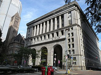 Pittsburgh City-County Building - The Pittsburgh City-County Building (right) is adjacent to the Allegheny County Courthouse (left)