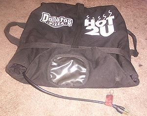 Pizza delivery - An electrically heated pizza bag, plug at the bottom
