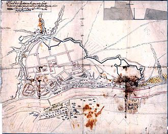 Battle of Grodno (1706) - Grodno and its fortifications on a 1655 plan