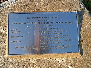 Dornoch Firth Bridge - Plaque for the bridge's opening in 1991
