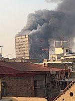 ساختمان پلاسکو در حال سوختن