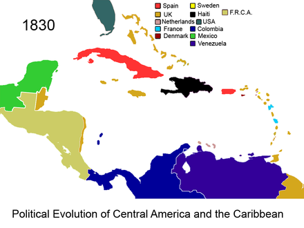 Federal Republic of Central America and British colony of the Mosquito Coast in 1830 Political Evolution of Central America and the Caribbean 1830 na.png
