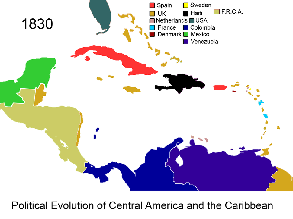 Political Evolution of Central America and the Caribbean 1830 na