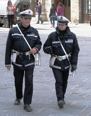 Crime in Italy -  Municipal police in Perugia in central Italy.