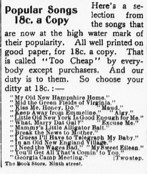 "My Old New Hampshire Home - Advertisement for popular sheet music in the New York Sun on March 3, 1899, with ""My Old New Hampshire Home"" listed first"