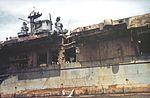 Port side amidships detail of USS Franklin (CV-13) in April 1945.jpg