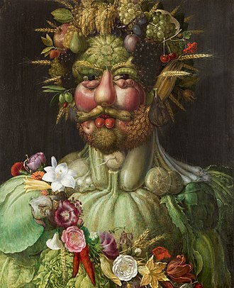 Vertumnus - The painting Vertumnus (ca. 1590) by Giuseppe Arcimboldo depicts Rudolf II as Vertumnus.