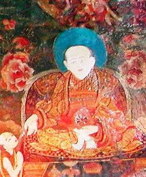 Sonam Rapten - Sonam Rapten (bsod nams rab brtan), from a mural at Samye Monastery, Tibet. Photo: F. Pommaret 2005