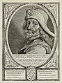 Portret van Willem V van Holland, graaf van Holland en Zeeland. Hij draagt een hoed versierd met veren en edelstenen. De omlijsting is versierd met het wapen van Holland. NL-HlmNHA 1477 53012918.JPG