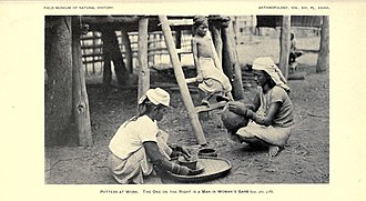 Babaylan - Image: Potters at work. The one on the right is a man in woman's garb (Itneg people, 1922)