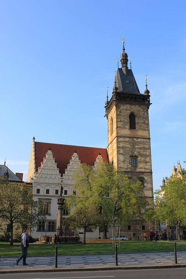The New Town Hall, the place of the first defenestration Prague Praha 2014 Holmstad - Det nye radhuset - Navomestska Radnice - The New Town Hall - Nove Mesto - First defenestration.JPG