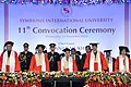 Pranab Mukherjee at the 11th Convocation of Symbiosis International University (SIU), at Pune, in Maharashtra. The Governor of Maharashtra, Shri C. Vidyasagar Rao and the Chief Minister of Maharashtra.jpg