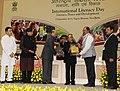 Pranab Mukherjee gave away the Saakshar Bharat awards, at the International Literacy Day celebrations, in New Delhi. The Union Minister of Human Resource Development, Shri M.M. Pallam Raju.jpg