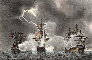 Battle of Port Louis - Affaire de la Preneuse, L. Garneray, 1837