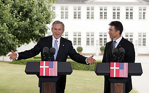 Foreign relations of Denmark - Former U.S. President George W. Bush and former Prime Minister Anders Fogh Rasmussen hold a joint press conference outside Marienborg, July 2005.