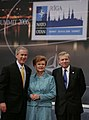 President George W. Bush stands with President Vaira Vike-Freiberga of Latvia, and NATO Secretary General Jaap de Hoop Scheffer.jpg