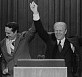 President Gerald Ford and vice presidential candidate Bob Dole celebrate winning the nomination at the Republican National Convention, Kansas City, Missouri.jpg
