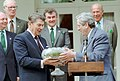 President Ronald Reagan George Shultz Garret Meeting with Garret Fitzgerald Prime Minister of Ireland Ceremony in Rose Garden to Receive Shamrocks in a Waterford Bowl.jpg