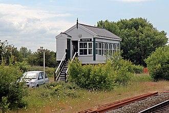 Prestatyn railway station - Image: Prestatyn signal box (geograph 4031624)