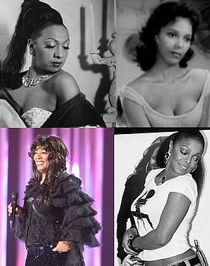 Pretty Girl Rock - Clockwise, from top left: Josephine Baker, Dorothy Dandridge, Janet Jackson and Donna Summer.